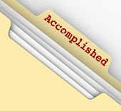 image of tasks  - Accomplished word on file folder tab for jobs - JPG