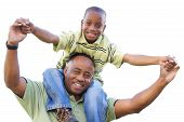 picture of pre-adolescent child  - Happy African American Man and Child Isolated on a White Background - JPG
