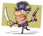 stock photo of peg-leg  - Peg Leg Pirate Balancing And Holding Up A Sword And Pistol - JPG