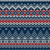 picture of knitting  - Seamless pattern ornament on the wool knitted texture - JPG