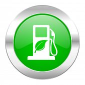 stock photo of ethanol  - biofuel green circle chrome web icon isolated  - JPG