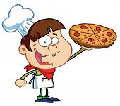stock photo of pizza parlor  - Happy Boy Chef Showing A Delicious Pizza - JPG