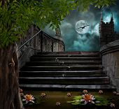 stock photo of moonlit  - Old stone staircase in celebration of Halloween on background of moonlit night - JPG