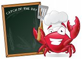 picture of crab  - Cute Chef Crab with Spatula and Menu Board - JPG
