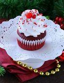 image of red velvet cake  - festive red velvet cupcakes Christmas table setting - JPG