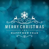 stock photo of merry  - Merry Christmas message and light background with snowflakes - JPG