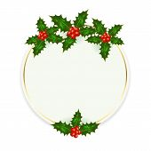 image of holly  - Christmas card with Holly berries isolated on white background illustration - JPG