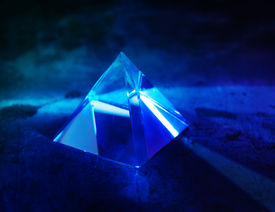 stock photo of prism  - Glass prism with intensive light coming through - JPG