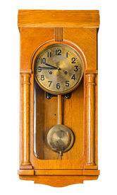 stock photo of pendulum  - Antique wooden horizontal wall pendulum clock isolated on white background - JPG