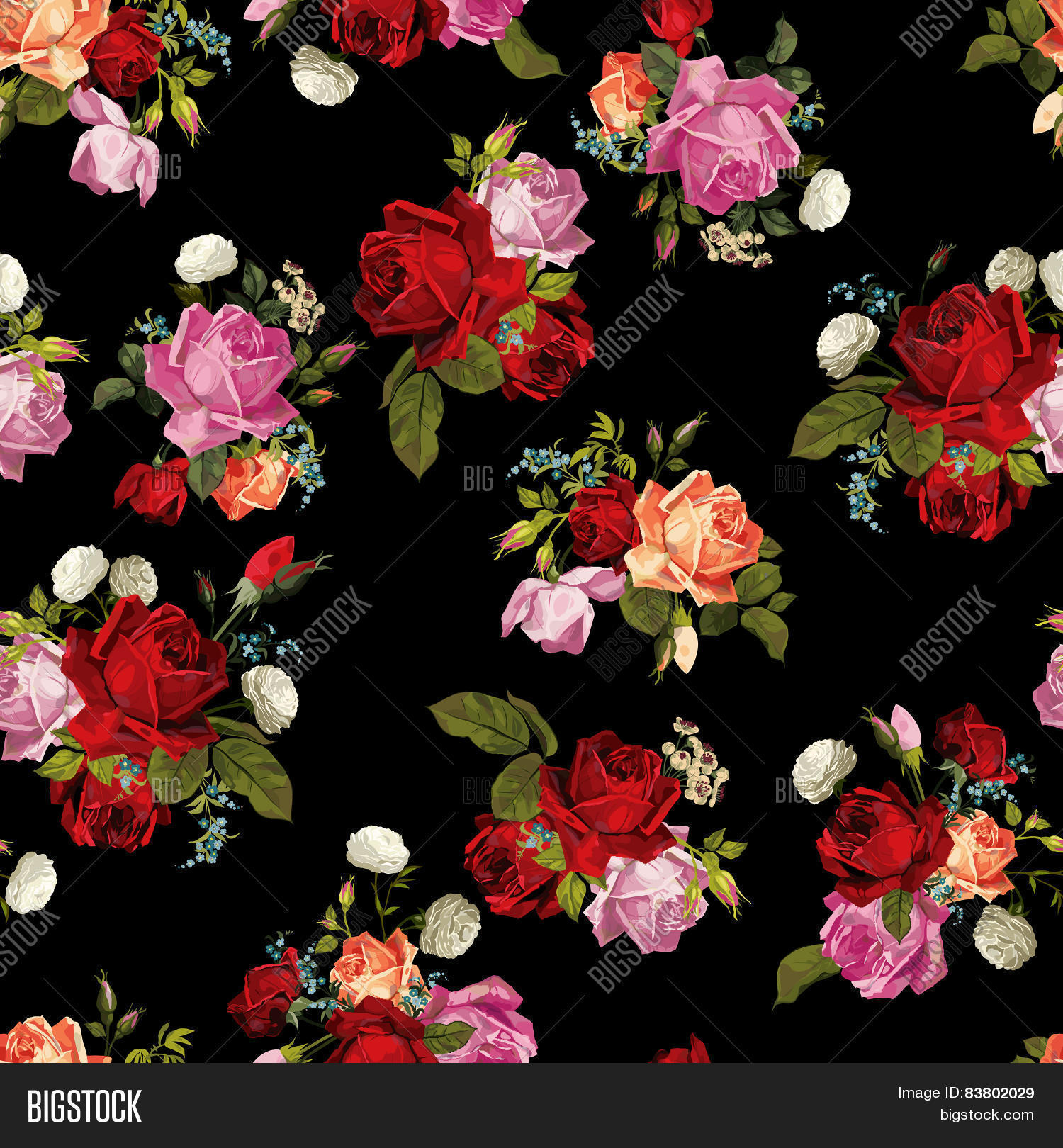 small rose print wallpaper