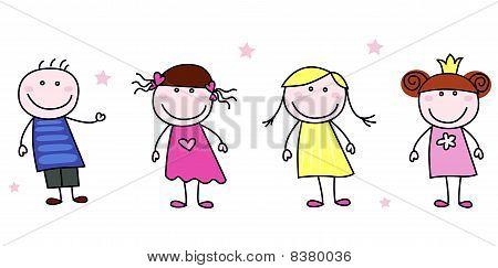 Stick figures - doodle children characters