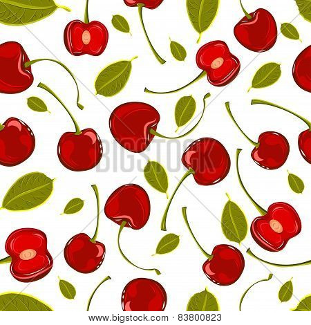 Seamless Pattern Of Hand-drawing Various Juicy Fruit Cherry Vector