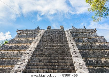 Side Stairway, Mayan Ruins. At Chichen Itza, Traveling Riviera Maya, Mexico Adventure.