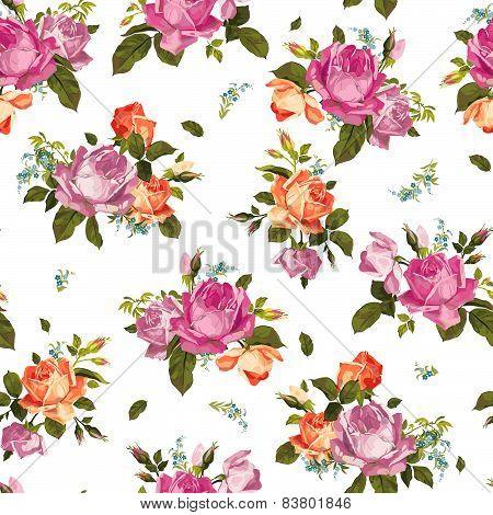 Abstract Seamless Floral Pattern With Pink And Orange Roses On White Background