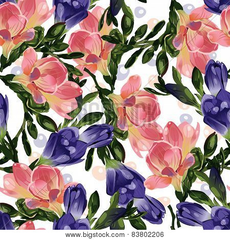Abstract Seamless Floral Pattern With Pink And Blue Freesia