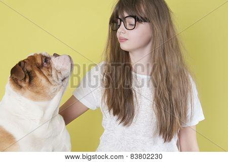 The Girl And An English Bulldog..