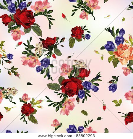 Abstract Seamless Floral Pattern With Red Roses And Pink And Blue Freesia