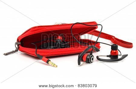 Red Bag For Headphones Isolated On White Background