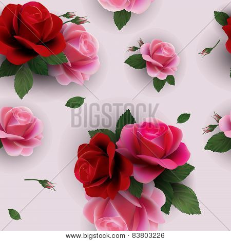 Elegant Abstract Seamless Floral Pattern With Red And Pink Roses