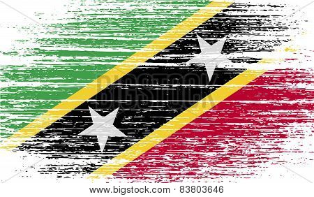 Flag Of Saint Kitts And Nevis With Old Texture. Vector