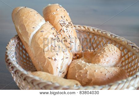 Various pastry with salt and caraway