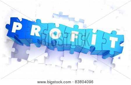 Profit - Word in Blue Color on Volume  Puzzle.