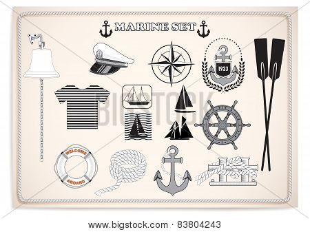 white-black marine set.vector illustration