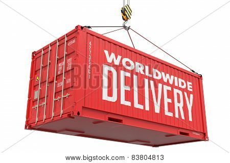 Worldwide Delivery - Red Hanging Cargo Container.