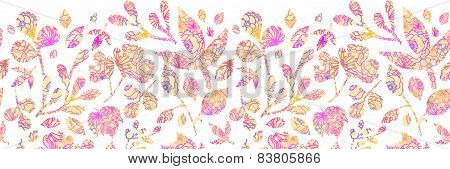 Textured pastel Leaves Horizontal Seamless Pattern background