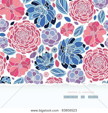 Summer flowers torn paper horizontal seamless background