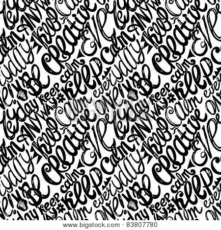 Keep Calm Creativity Motivation-seamless Hand Drawn Pattern, Doodles Letters