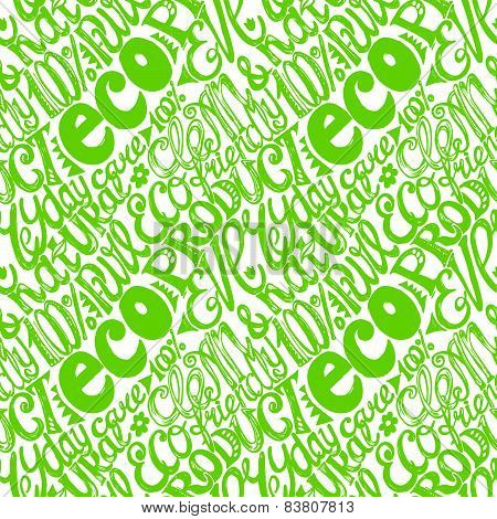 Eco Friendly Concept-seamless Hand Drawn Pattern, Doodles Letters