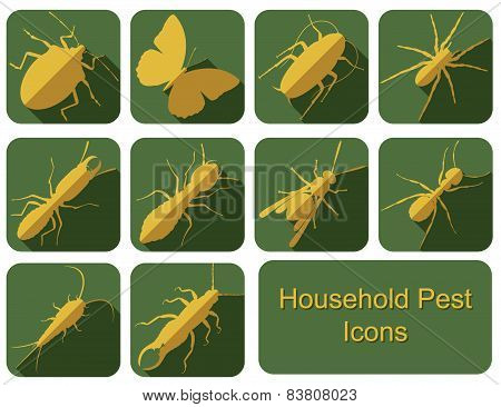 Household Pest Flat Icons