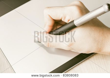 Retro Image Of Female Hand Of A Designer Drawing