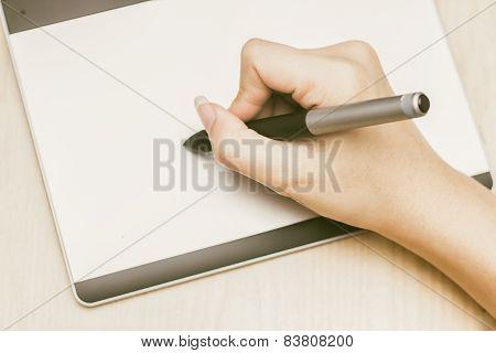 Retro Image Of Female Hand Of A Designer