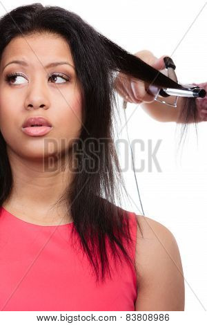 Girl Hairdo With Electric Hair Curler