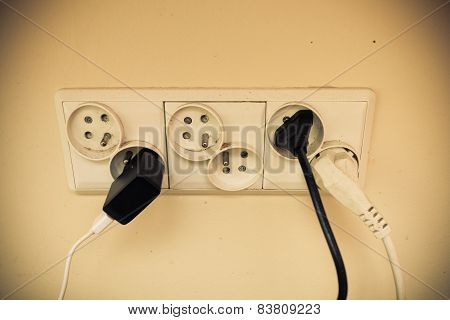 Dirty Electric Plug In Socket For Power.
