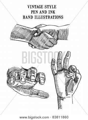 Set of Hand Illustrations shake
