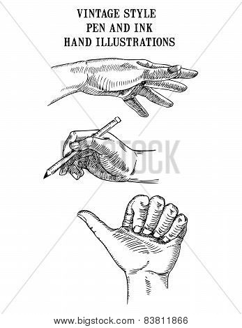 Set of Hand Illustrations pencil
