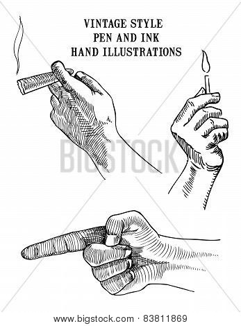 Set of Hand Illustrations cigar