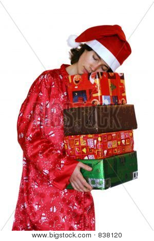 Sleeping Santa Claus With Christmas Gifts