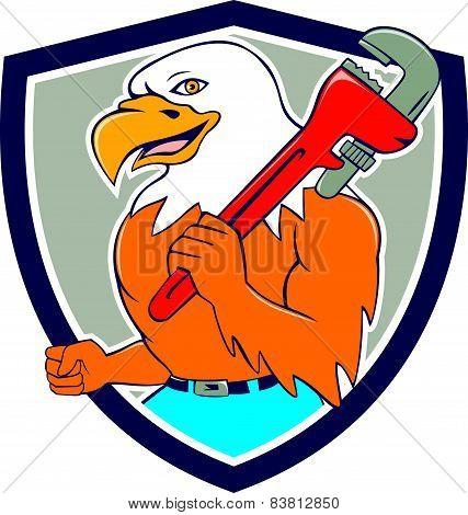 Bald Eagle Plumber Monkey Wrench Shield Cartoon