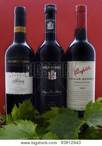 Adelaide, South Australia - February 23, 2015: Selection Of Three Bottles Of Premium Export Quality