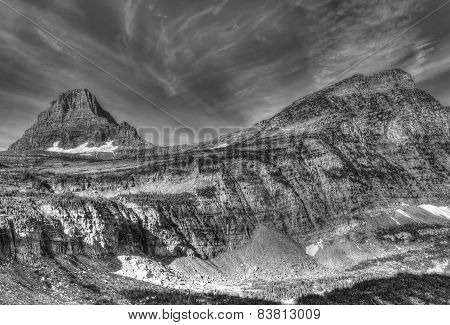 Reynolds And Oberlin Mountains, Glacier National Park Black & White