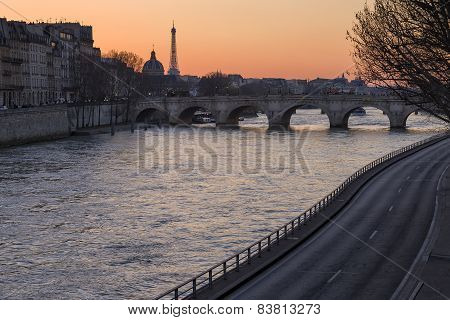 View Of The River Seine In Paris At Sunset