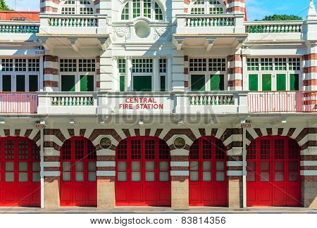 Vintage Retro Fire Station Building