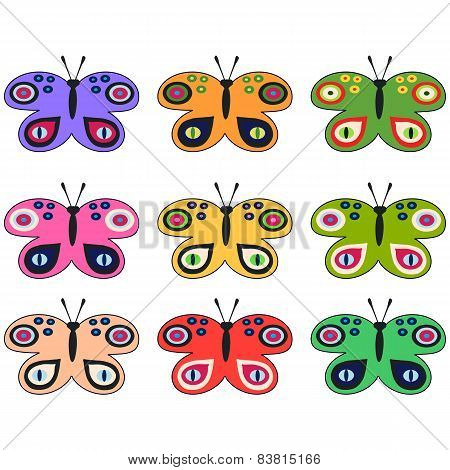 Set of colored decorative butterflies