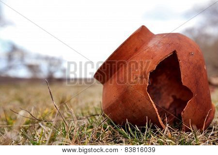 Ancient Clay Pot Is Split In The Field. Tile Age-old Abandoned. Clay Pot Is Broken