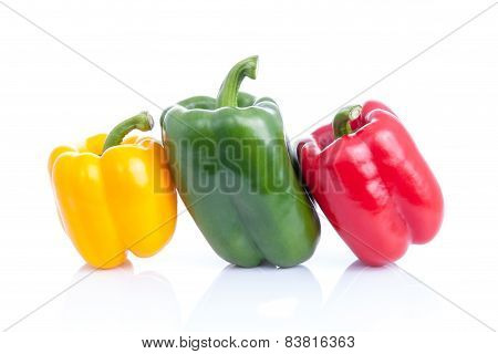 Fresh Sweet Pepper,bell Pepper Or Capsicum On White Background