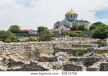 View Of Vladimir Cathedral In Tauric Chersonesos, Sevastopol